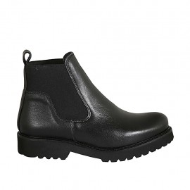 Woman's ankle boot with elastic bands in black leather heel 3 - Available sizes:  33, 34, 42, 43, 44, 45
