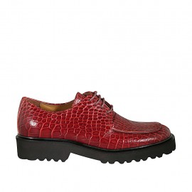 Woman's laced derby shoe in red printed leather heel 3
