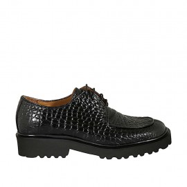 Woman's laced derby shoe in black printed leather heel 3 - Available sizes:  32, 33, 34, 42, 43, 44, 45