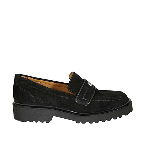 Woman's mocassin with accessory in black suede heel 3 - Available sizes:  32, 34, 42, 43, 44, 45