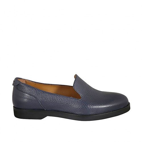 Woman's loafer in blue leather heel 2 - Available sizes:  42, 43, 45
