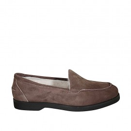Woman's mocassin in taupe suede heel 2