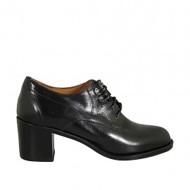 Woman's derby laced shoe in black leather heel 6 - Available sizes:  32, 33, 34, 42, 43, 44, 45, 46
