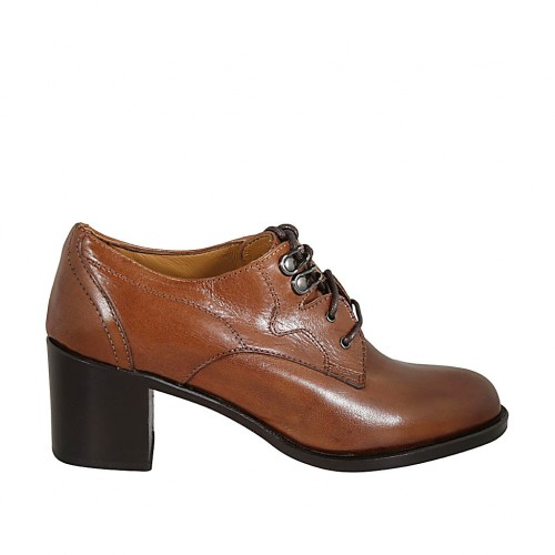 Woman's derby laced shoe in tan brown leather heel 6 - Available sizes:  32, 33, 34, 42, 43, 44, 45, 46