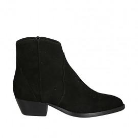 Botines tejanos para mujer con cremallera y puntera bordada en gamuza negra tacon 4 - Tallas disponibles:  34, 42, 45