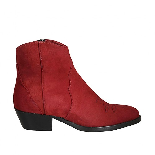 Woman's Texan ankle boot with zipper and embroidered captoe in red suede heel 4 - Available sizes:  34, 43, 44, 45