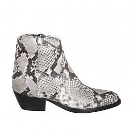 Woman's texan ankle boot with zipper in printed black and white leather heel 4