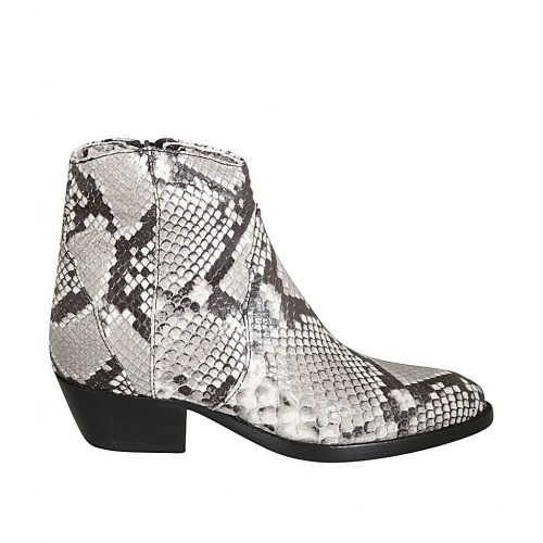 Woman's texan ankle boot with zipper in printed black and white leather heel 4 - Available sizes:  34, 42, 43, 44, 45