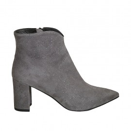 Woman's pointy ankle boot with zipper in glittered printed grey suede heel 7