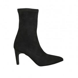 Bottines a punta para mujer en gamuza elastica negra tacon 7 - Tallas disponibles:  31, 32, 33, 34, 42, 45, 46, 47