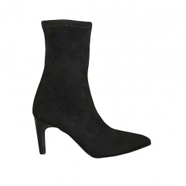 Woman's pointy ankle boot in black elastic suede heel 7