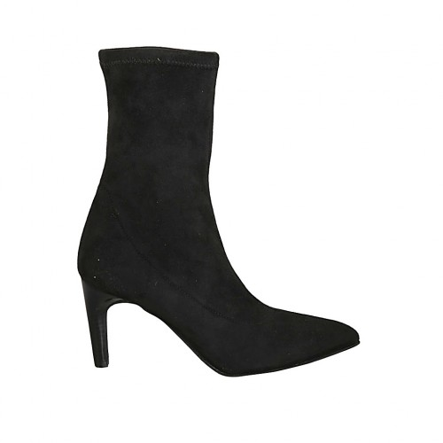 Woman's pointy ankle boot in black elastic suede heel 7 - Available sizes:  31, 32, 33, 34, 42, 44, 45, 47