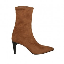 Woman's pointy ankle boot in tan brown elastic suede heel 7