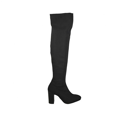 Woman's over-the-knee boot in black elastic fabric heel 7 - Available sizes:  31, 32, 33, 34, 42, 44, 46, 47