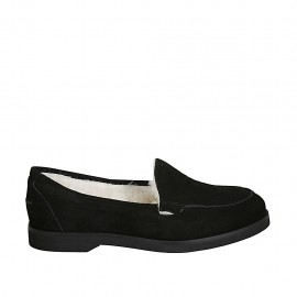 Woman's mocassin in black suede heel 2 - Available sizes:  32, 33, 34, 42, 43, 44, 45