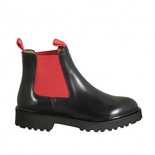 Woman's ankle boot with red elastic bands in black leather heel 3 - Available sizes:  33, 34, 42, 43, 44, 45