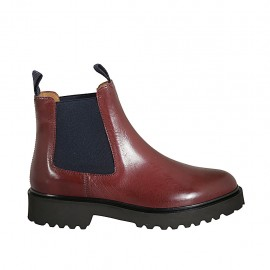 Woman's ankle boot with blue elastic bands in red leather heel 3 - Available sizes:  33, 34, 42, 43, 44, 45