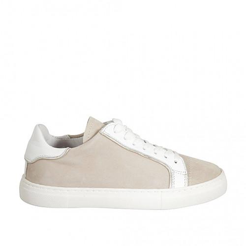 Zapato con cordones y plantilla extraible para mujer en gamuza beis y piel blanca cuña 2 - Tallas disponibles:  44