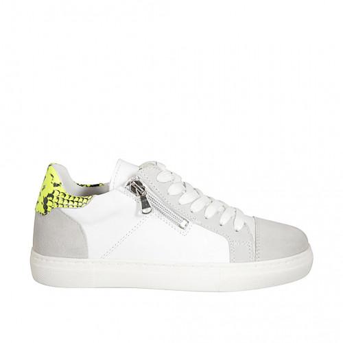 Zapato con cordones y plantilla extraible para mujer en gamuza gris, piel blanca y imprimida amarillo cuña 2 - Tallas disponibles:  33, 34, 43, 44, 45