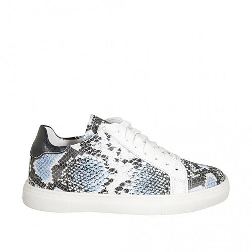Zapato para mujer con cordones y plantilla extraible en piel negra y piel imprimida azul cuña 2 - Tallas disponibles:  33, 34
