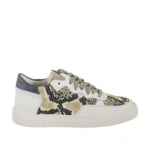 Zapato para mujer con cordones y plantilla extraible en piel blanca y azul y piel imprimida multicolor cuña 2 - Tallas disponibles:  33, 34, 42, 45