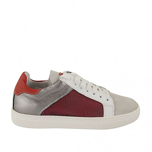 Woman's laced shoe with removable insole and net in gray suede and red, white and silver laminated leather wedge heel 2 - Available sizes:  33, 43