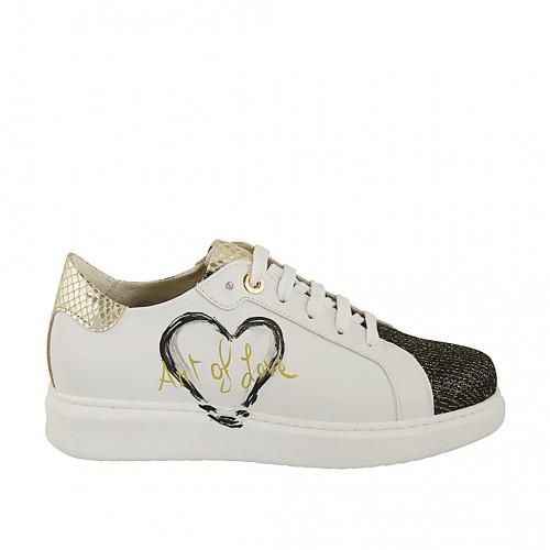 Zapato con cordones y plantilla extraible para mujer en piel blanca pintada a mano y imprimida oro y tejido oro y negro cuña 2 - Tallas disponibles:  33, 34, 42, 46