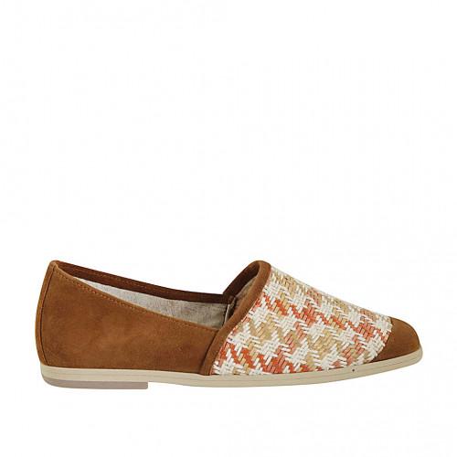 Zapato para mujer en gamuza brun claro y tejido multicolor tacon 1 - Tallas disponibles:  33, 43, 44, 45