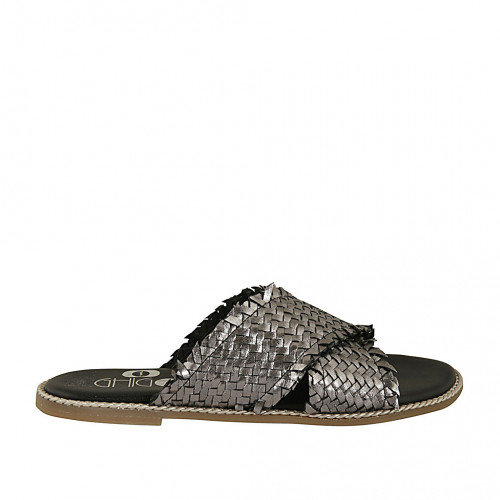 Zapato mule para mujer en piel laminada trensada gris plateada tacon 1 - Tallas disponibles:  34, 42, 44