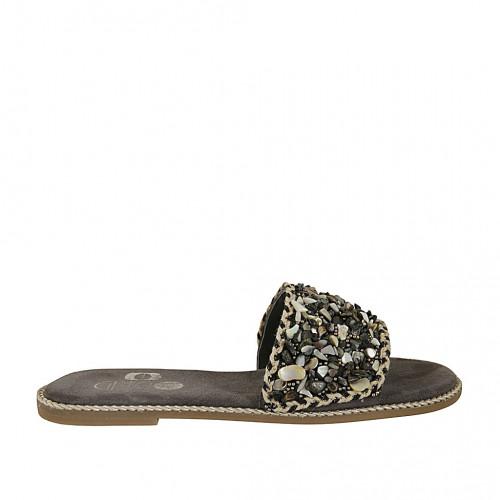 Zapato mule para mujer con piedras en gamuza gris tacon 1 - Tallas disponibles:  34, 42, 43, 44