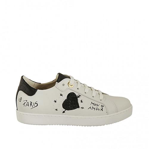 Zapato con cordones y plantilla extraible para mujer en piel blanca pintada a mano y imprimida negra cuña 2 - Tallas disponibles:  34, 46