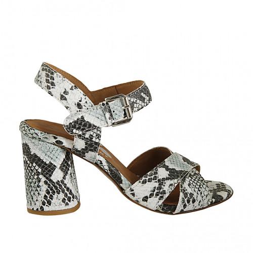 Sandale pour femmes en cuir imprimé multicouleur vert clair talon 7 - Pointures disponibles:  32, 42, 45