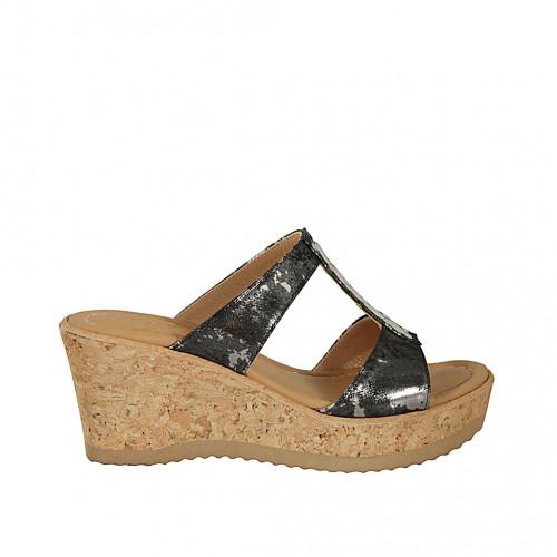 Zapato mule para mujer en tejido imprimido laminado plateado cuña 7 - Tallas disponibles:  31, 32, 42, 43, 45