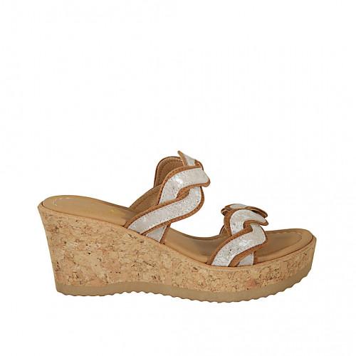 Zapato mule para mujer en gamuza brun claro y gamuza estampada laminada platino cuña 7 - Tallas disponibles:  31, 42, 43, 44, 45