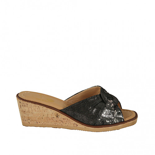 Zapato mule para mujer en tejido laminado estampado negro y plateado cuña 5 - Tallas disponibles:  42, 43, 45