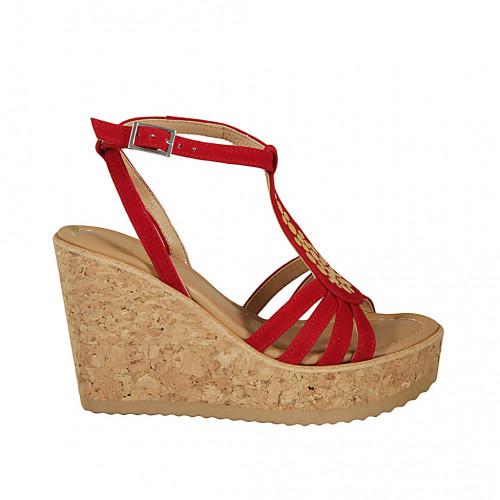 Sandale pour femmes en daim rouge avec courroie, goujons, plateforme et talon compensé 10 - Pointures disponibles:  42, 43