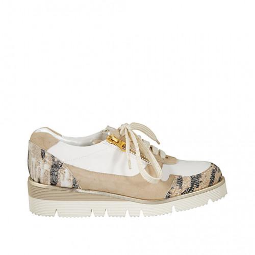 Chaussure avec lacets et fermetures éclair pour femmes en cuir blanc et imprimé multicouleur et daim beige talon compensé 3 - Pointures disponibles:  42, 43, 45