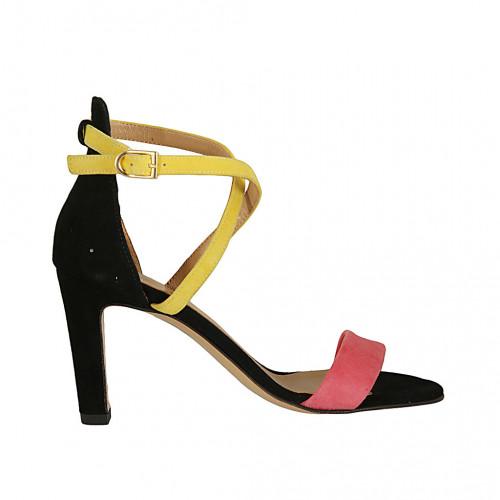 Scarpa aperta da donna con cinturino incrociato in camoscio nero, giallo e rosa tacco 8 - Misure disponibili: 42
