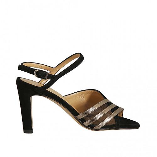 Sandale pour femmes en daim noir, cuir lamé bronze et tissu resillé talon 8 - Pointures disponibles:  32, 42, 45