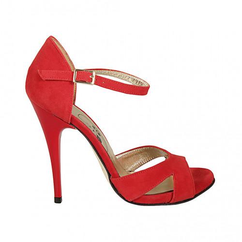 Scarpa aperta da donna con cinturino in camoscio rosso tacco 11 - Misure disponibili: 32, 34, 42