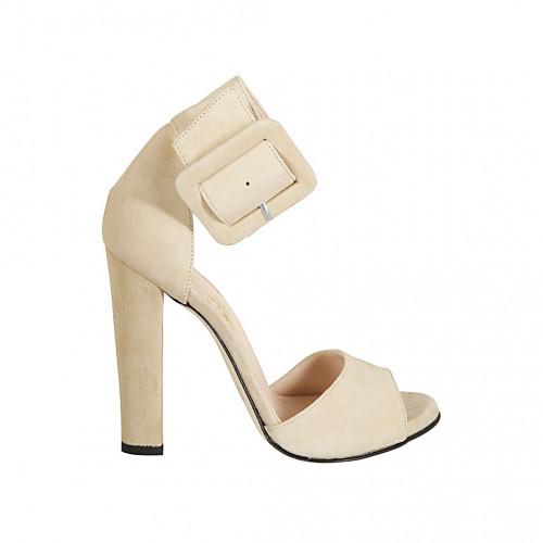 Scarpa aperta da donna con fibbia alla caviglia in camoscio beige tacco 11 - Misure disponibili: 34, 42, 44, 47