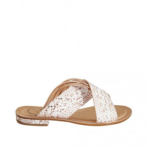 Zapato mule para mujer en piel laminada cobrizo y piel imprimida blanca y cobrizo tacon 1 - Tallas disponibles:  33, 34, 42, 43, 44, 45