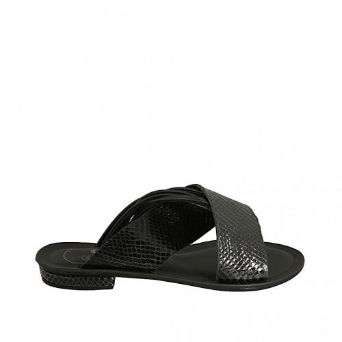 Zapato mule para mujer en piel y charol imprimido negro tacon 1 - Tallas disponibles:  34, 42, 43, 44, 45