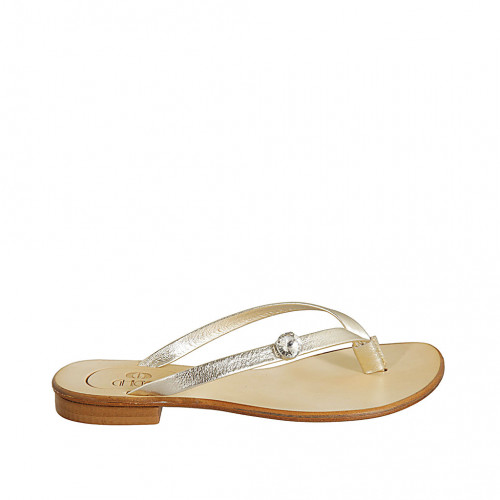 Woman's thong mules with accessory in platinum laminated leather heel 1 - Available sizes:  42, 43, 44, 45