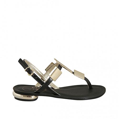 Sandale entredoigt pour femmes avec accessoires platine en cuir noir talon 2 - Pointures disponibles:  44