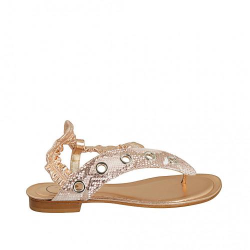Sandale entredoigt pour femmes avec elastique en cuir cuivre et cuir imprimé cuivre et blanc talon 2 - Pointures disponibles:  42, 43
