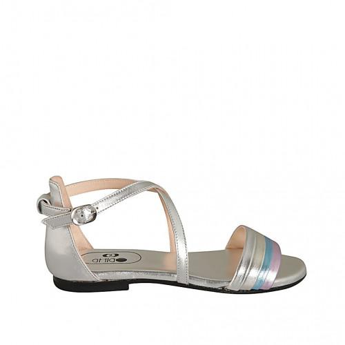 Scarpa aperta da donna con cinturino in pelle laminata argento, platino, azzurra e rosa tacco 1 - Misure disponibili: 33, 42, 46