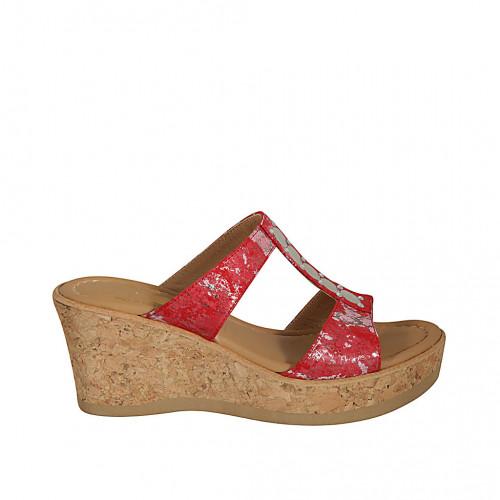 Zapato mule para mujer en gamuza imprimida roja, rosa y plateada cuña 7 - Tallas disponibles:  31, 32, 33, 34, 42, 43, 44, 45