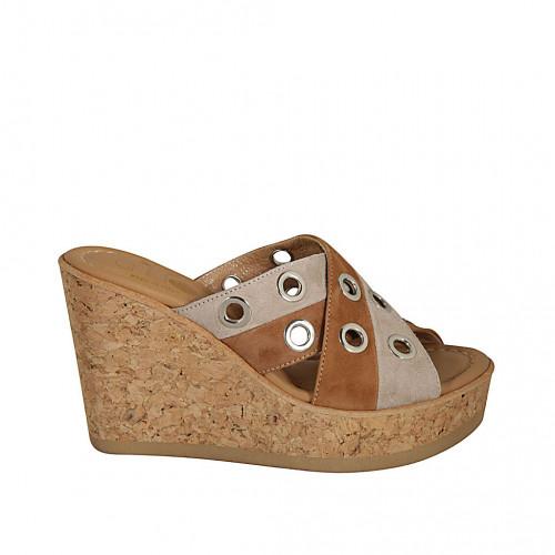 Zapato mule para mujer en gamuza brun claro y beis arena cuña 9 - Tallas disponibles:  31, 33, 34, 42, 44, 45