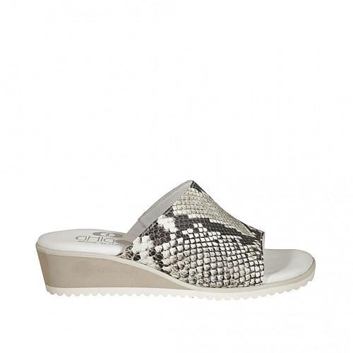 Zapato mule para mujer en piel imprimida blanca, negra y gris cuña 4 - Tallas disponibles:  34, 43, 44, 45